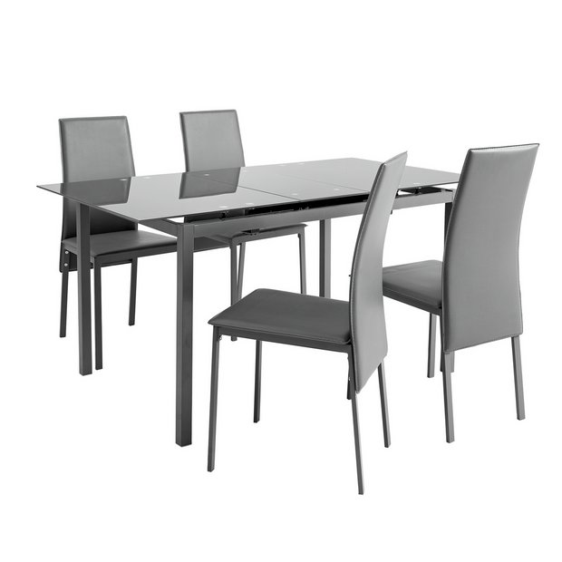 Buy Argos Home Lido Glass Extending Dining Table 4 Grey Chairs Dining Table And Chair Sets Argos