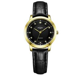 Rotary Ladies' Diamond Set Dial Black Leather Strap Watch
