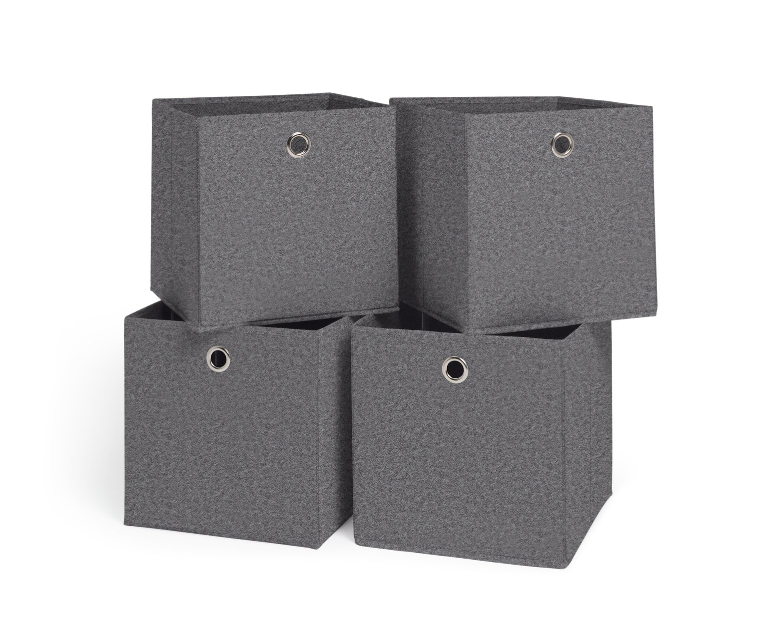 Argos Home Squares Set Of 4 Storage Boxes   Grey Felt