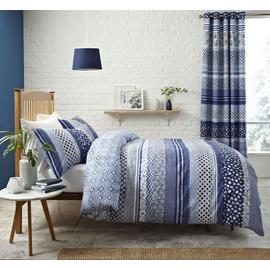 Catherine Lansfield Santorini Curtains - 168x183cm - Blue.