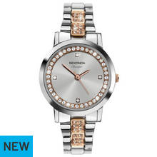 Sekonda Classique Ladies' Rose and Silver Stone Set Watch