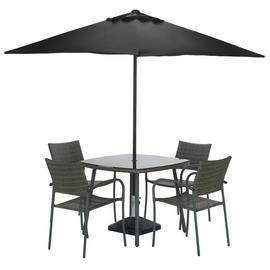 Argos Home Cusco Rattan 4 Seater Dining Set - Grey