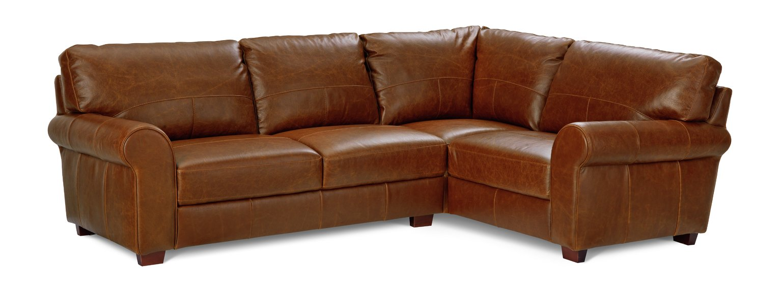 Argos Home Salisbury Right Hand Leather Corner Sofa   Tan