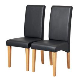 Argos Home Pair of Skirted Dining Chairs - Black