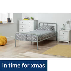 Argos Home Charlie Single Metal Bed Frame - Silver