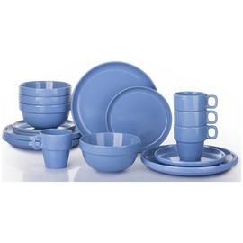 Waterside 16 Piece Stoneware Stacking Dinner Set - Blue