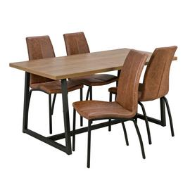 Argos Home Nomad Oak Effect Dining Table & 4 Milo Chairs