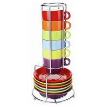 Zodiac Colours Set of 6 Espresso Cups with Stand - Multi
