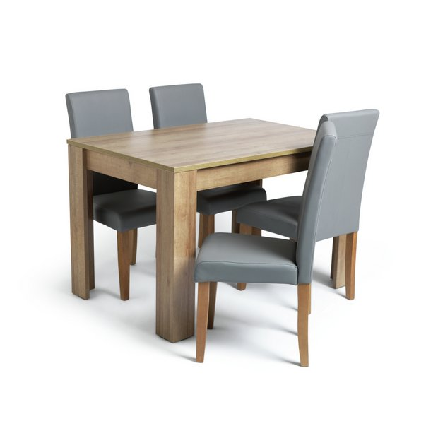 Buy Argos Home Miami Oak Effect Dining Table 4 Grey Chairs Dining Table And Chair Sets Argos