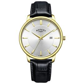 Rotary Men's Classic Black Leather Strap Analogue Watch
