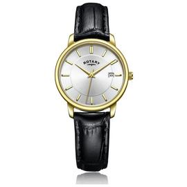 Rotary Ladies' Gold Plated Black Leather Strap Watch Best Price and Cheapest