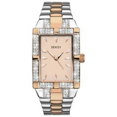 Seksy Ladies' Two Tone Rose Gold Plated Stone Set Watch
