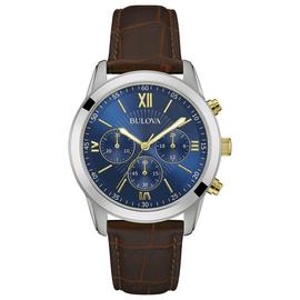 Bulova Men's Two Tone Brown Leather Strap Chronograph Watch