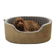 Petface Grey Window Check Foam Oval Pet Bed - Extra Large