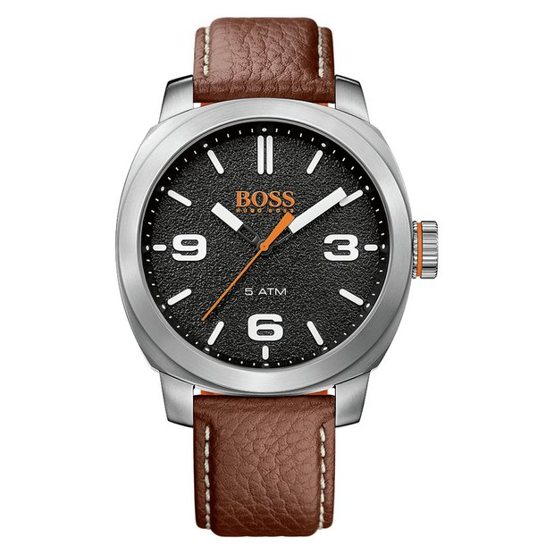 d7c3c022b23b Hugo Boss Orange Cape Town Men's Brown Leather Strap Watch852/9239