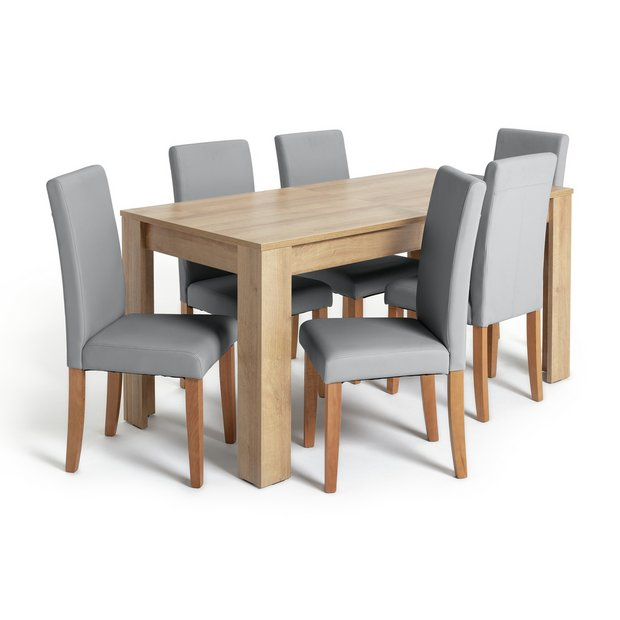Buy Argos Home Miami XL Extending Table & 6 Grey Chairs | Dining Table And Chair Sets | Argos