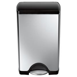 simplehuman 38 Litre Rectangular Pedal Bin - Brushed Steel.