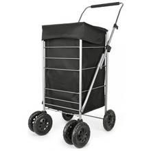6 Wheel Folding Black Deluxe Shopping Trolley