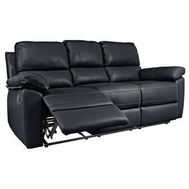 Argos Home Toby 3 Seater Faux Leather Recliner Sofa - Black