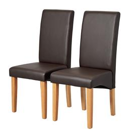 Argos Home Pair of Skirted Dining Chairs - Chocolate