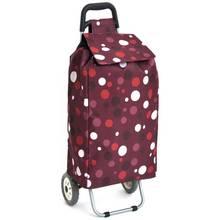 2 Wheel Folding Purple Spot Shopping Trolley