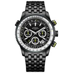 Rotary Men's Black IP Stainless Steel Pilot Style Watch
