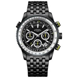 Rotary IP Men's Black Stainless Steel Pilot Style Watch
