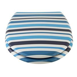Argos Home Stripe Toilet Seat - Blue