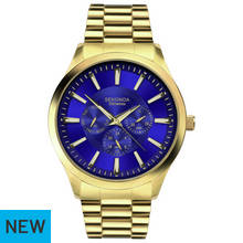 Sekonda Men's Blue Multi Dial Gold Plated Bracelet Watch