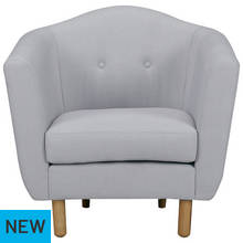 Argos Home Elin Fabric Chair - Light Grey