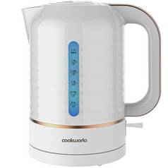 Cookworks Horizon Stripe Kettle - White