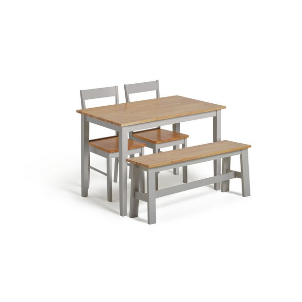 Wondrous Buy Argos Home Chicago Solid Wood Table Bench 2 Grey Chairs Dining Table And Chair Sets Argos Interior Design Ideas Gentotryabchikinfo