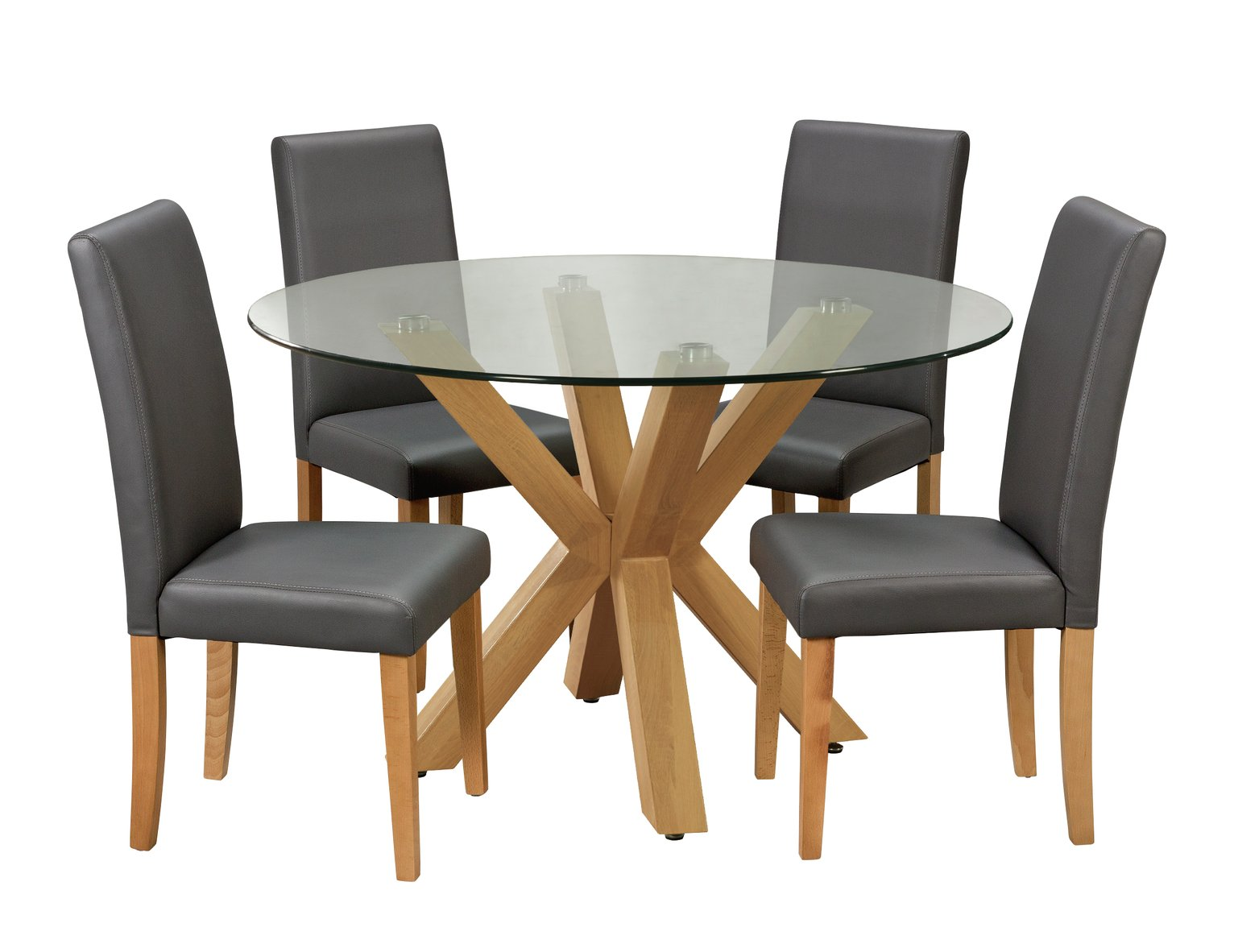 Argos Home Alden Round Glass Table U0026 4 Chairs   Charcoal854/6140