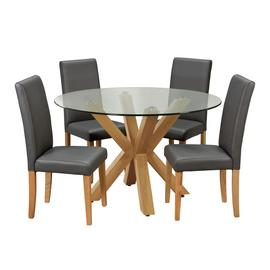 Argos Home Alden Glass Dining Table & 4 Charcoal Chairs