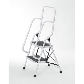 Two Step Foldable Safety Ladder With Top And Side Handrails