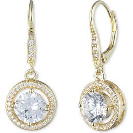 Anne Klein Gold Colour Cubic Zirconia Halo Drop Earrings