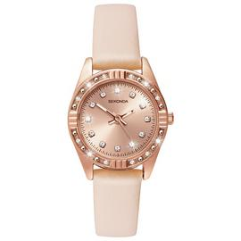 Sekonda Ladies' Rose Gold Plated Stone Set Nude Strap Watch