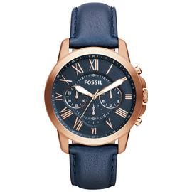 Fossil Grant Men's Blue Leather Strap Chronograph Watch