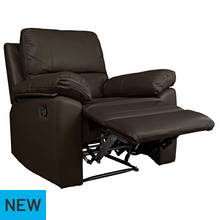 Argos Home Toby Leather Effect Recliner Chair - Chocolate