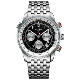 Rotary Men's Stainless Steel Pilot Style Chronograph Watch