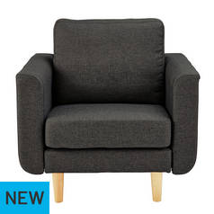 Hygena Remi Fabric Chair in a Box - Charcoal/t