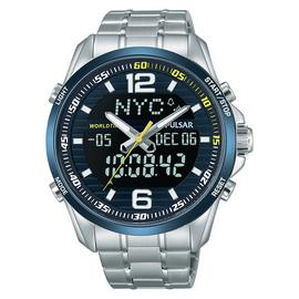 Pulsar Men's Silver Stainless Steel Digital Watch