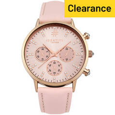 Identity London Ladies Rose Gold Plated Stone Set Dial Watch
