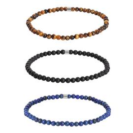 Revere Men's Stainless Steel Stretch Bracelet - Pack of 3