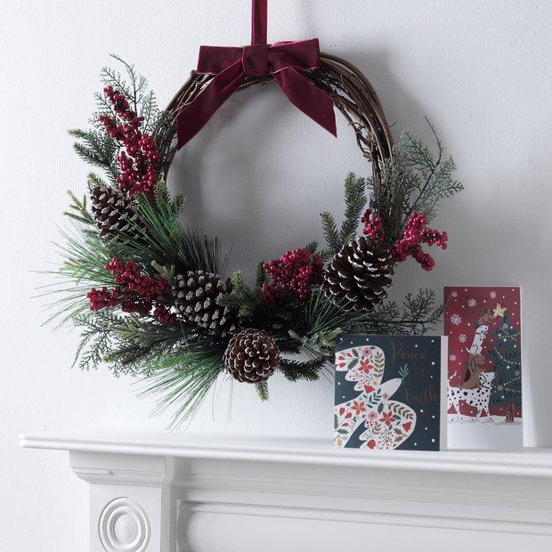 Buy Argos Home Classic Half Christmas Wreath Christmas Wreaths And Garlands Argos