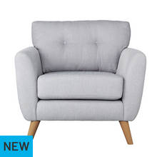 Argos Home Kari Fabric Chair - Light Grey
