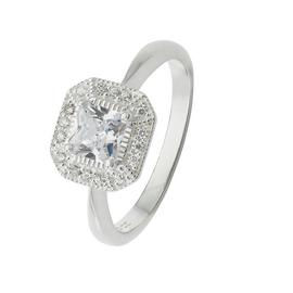 Revere Sterling Silver Cubic Zirconia Square Halo Ring