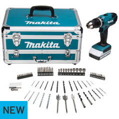 Makita HP457DWX Cordless Hammer Drill with 70 Accessories