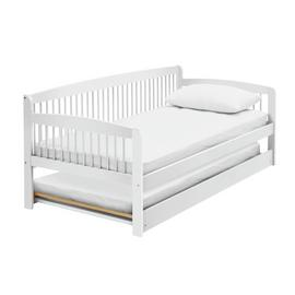 Argos Home Andover White Day Bed with Trundle & 2 Mattresses