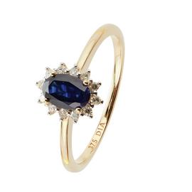 Revere 9ct Yellow Gold Sapphire & Diamond Cluster Ring